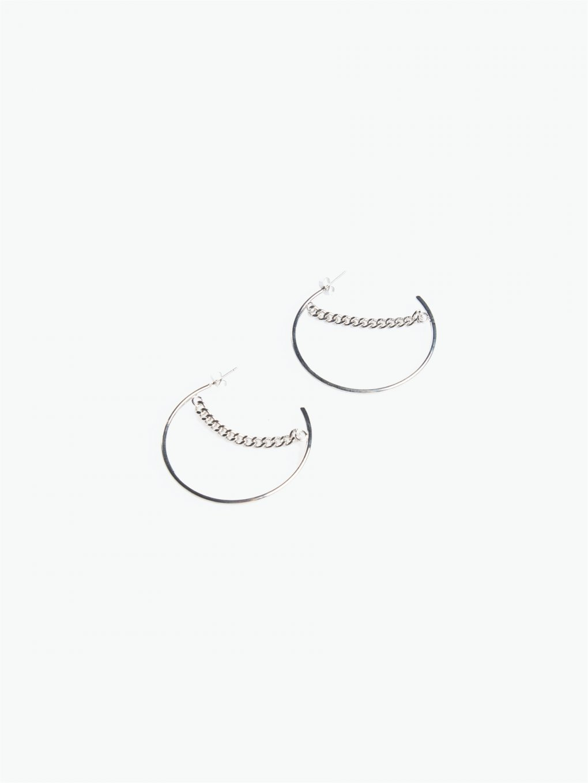Hoop earrings with chain