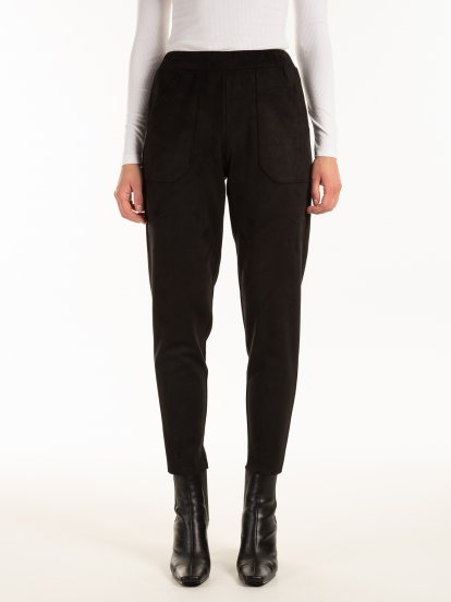 Faux suede trousers