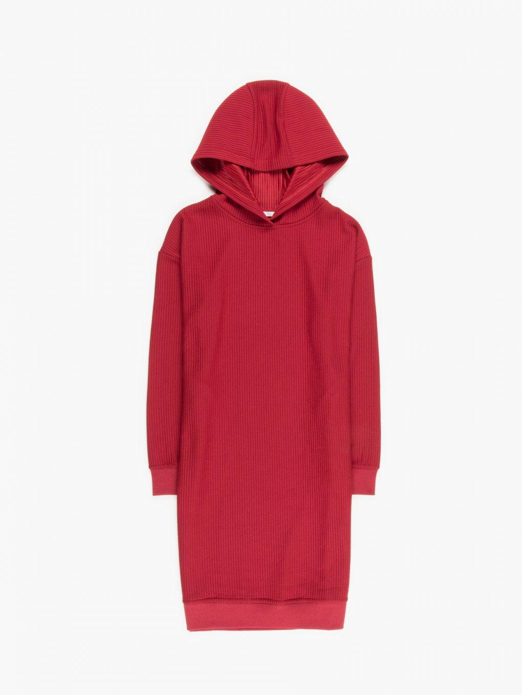 Ribbed dress with hood