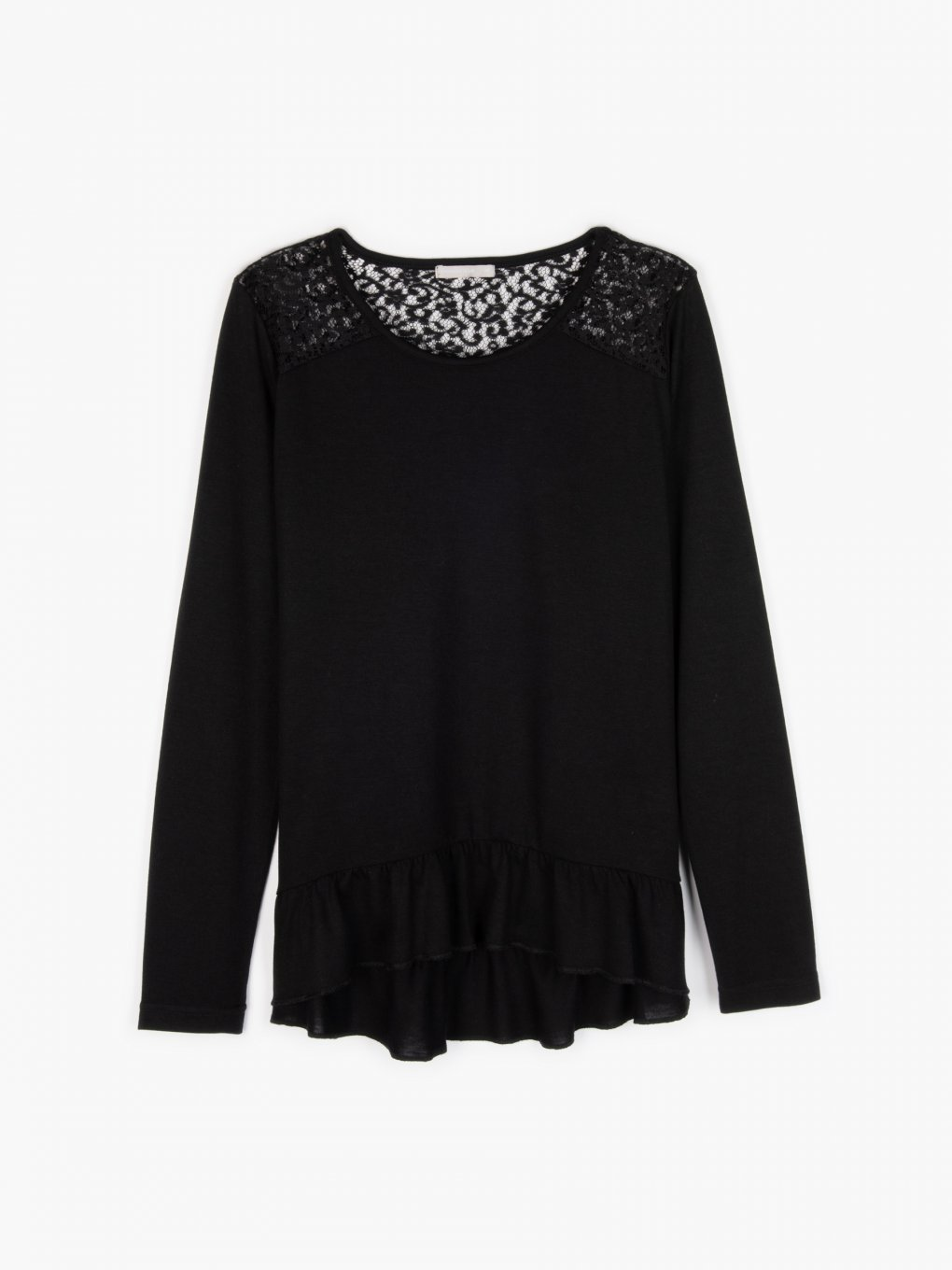 Ruffle top with lace details