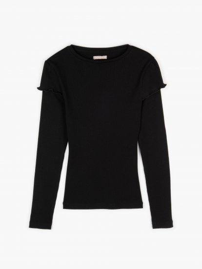 Ribbed cotton top with ruffle