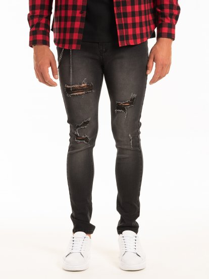 Slim fit jeans with chain