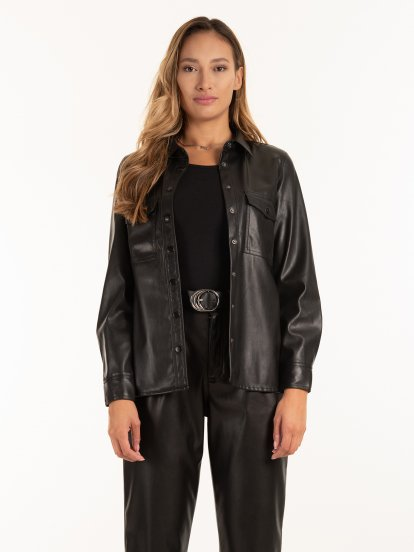 Faux leather shirt with pockets