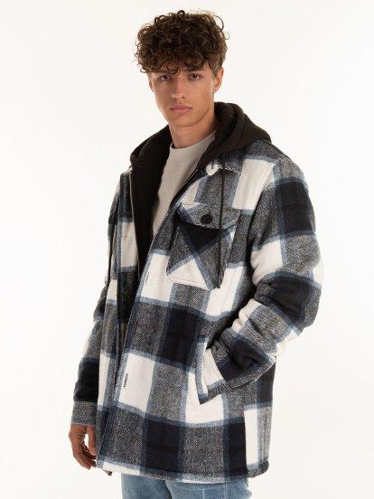 Košilová bunda s kapucí