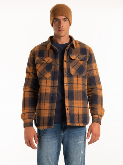 Plaid overshirt with faux sherling