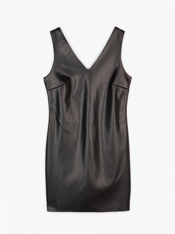 Faux leather a-line dress