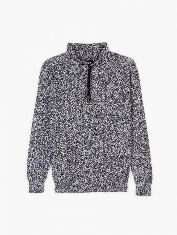 Marled high collar pullover
