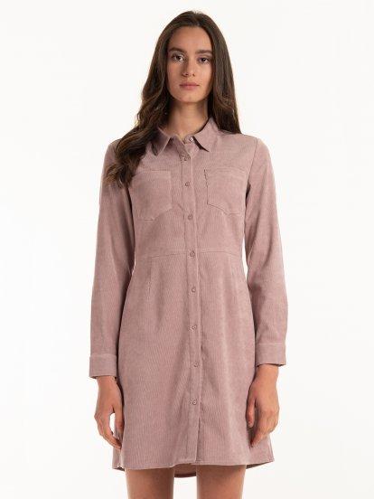 Manšestrové košilové šaty