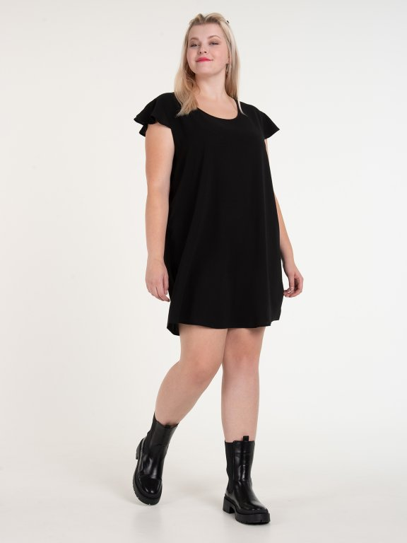 Mini sukienka z falbanami na rękawach