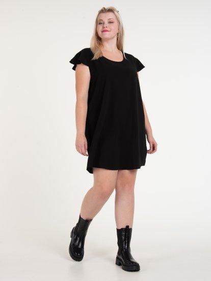 Plain mini dress with ruffle sleeve