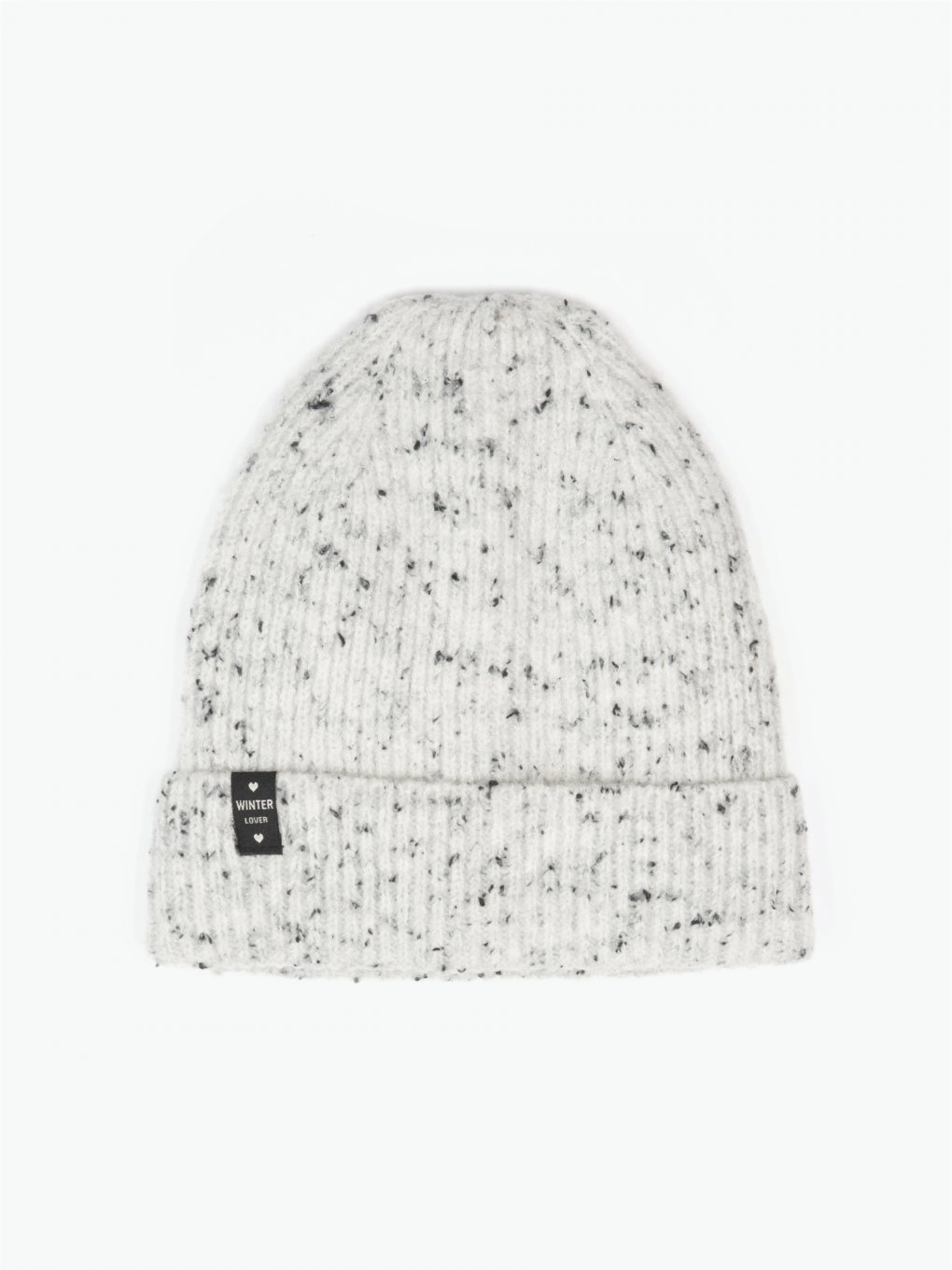 Knitted beanie with patch