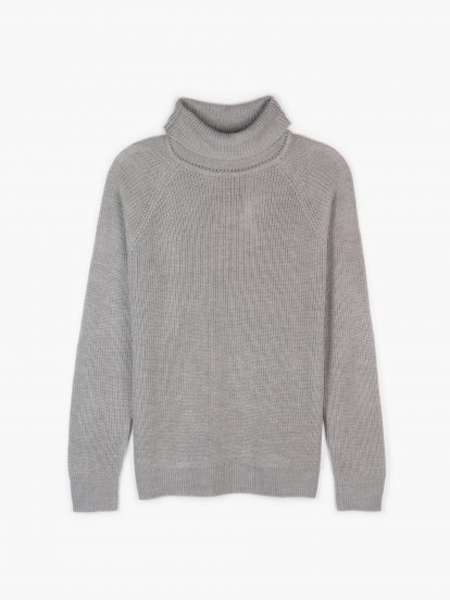 Ribbed rollneck pullover