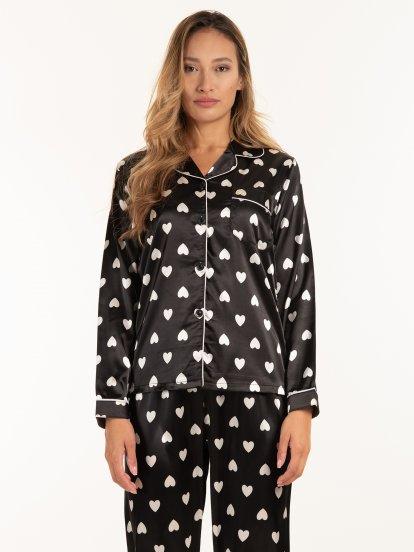 Satin pyjama top