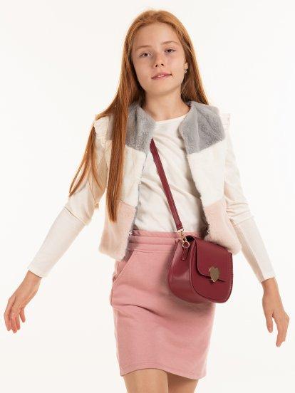 Faux fur colour block vest