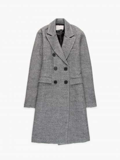 Vzorovaný kabát s dvouřadým zapínáním