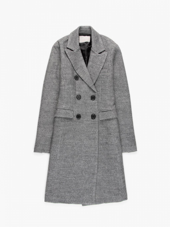Double breasted herringbone coat