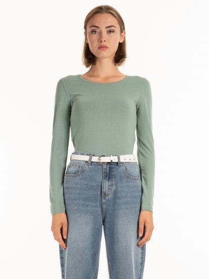 Základní bavlněné elastické tričko