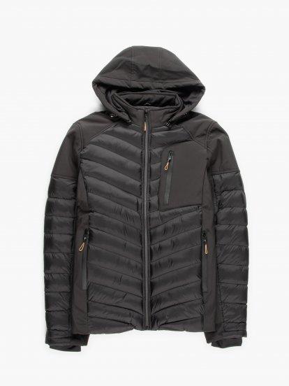 Kombinovaná prošívaná vycpávaná pánská bunda s kapucí a kapsami na zip