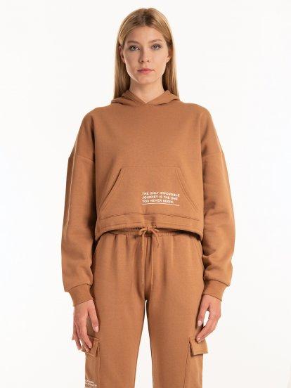 Hoodie with kangaroo pocket and print