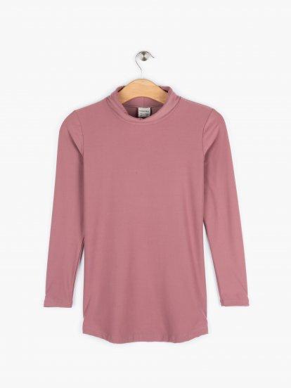 Longline soft long sleeve rollneck t-shirt