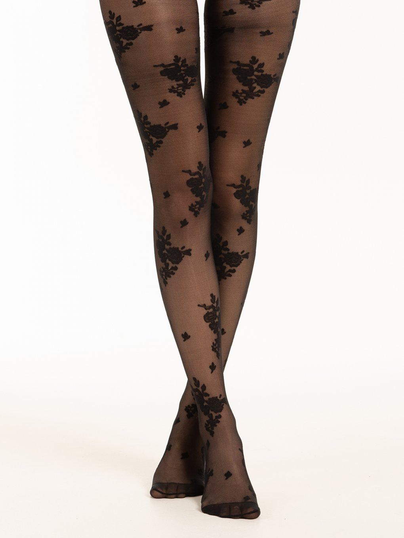 Rose pattern tights