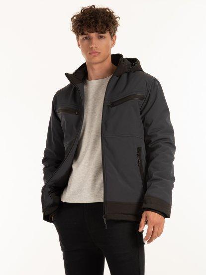 Vycpávaná bunda pánská s odepínatelnou kapucí a kapsami na zip