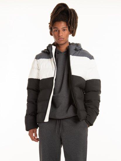 Vycpávaná vícebarevná pánská bunda na zip s kapucí