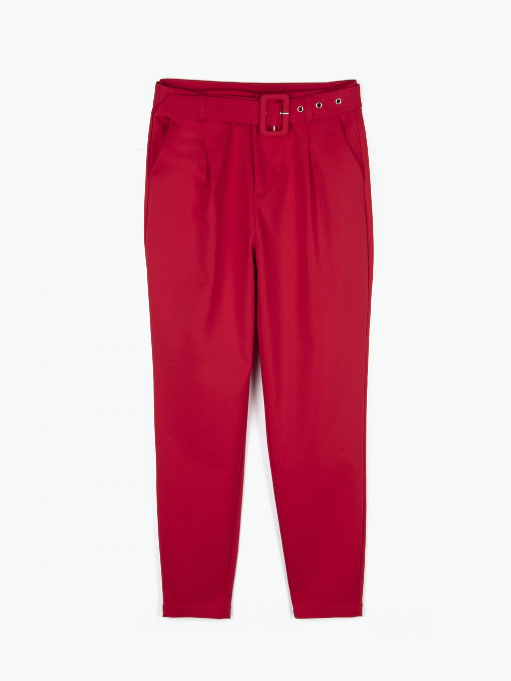 High waist carrot fit pants with belt and pockets