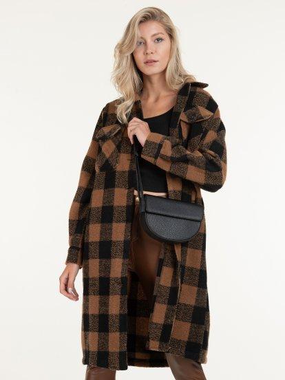 Dlouhý kabát volného střihu dámský