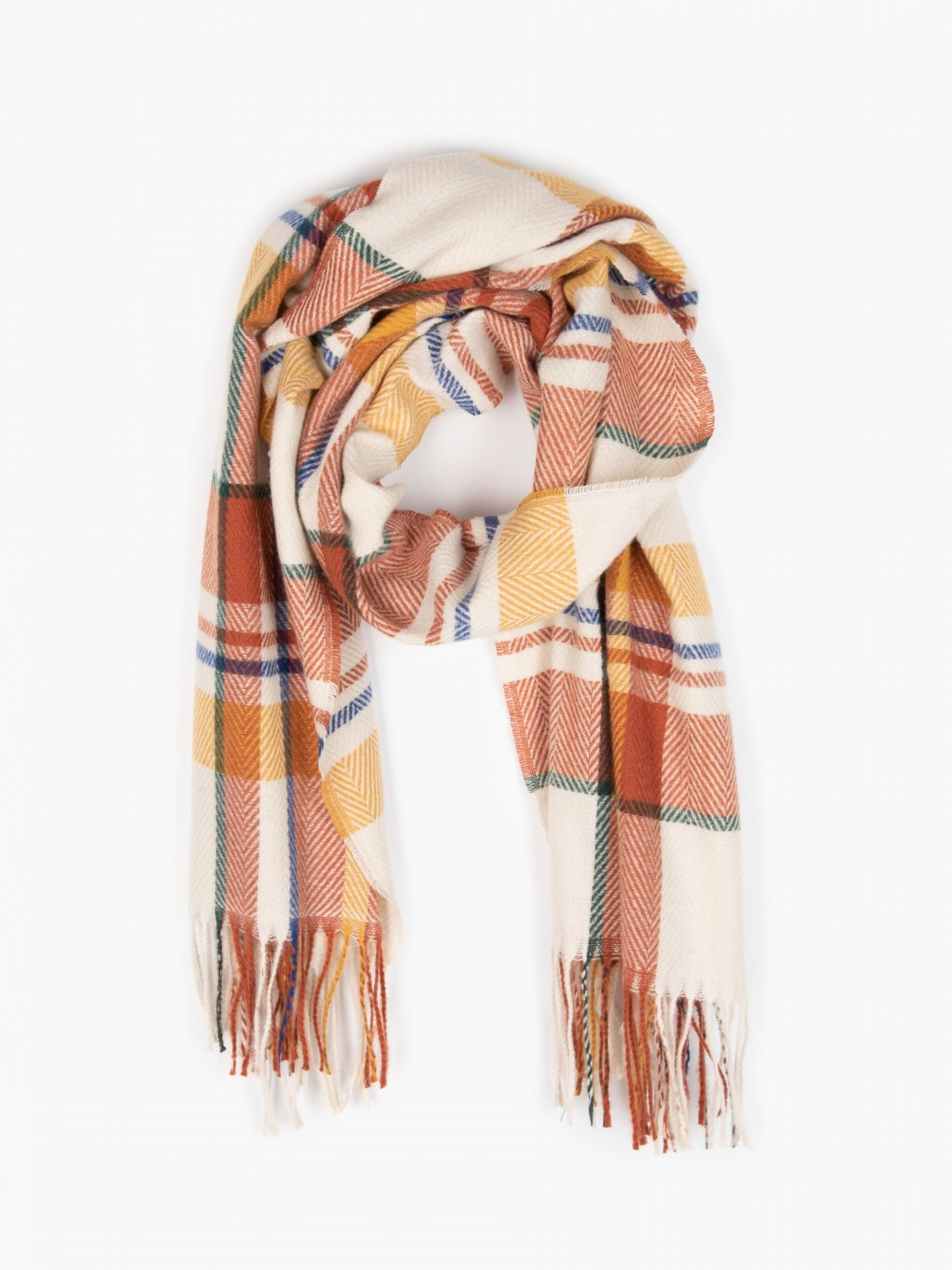 Colourfull plaid scarf with tassels