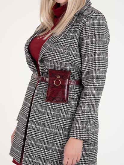 Károvaný kabát dámský