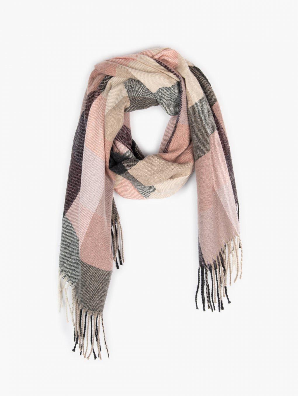Plaid scarf with tassels