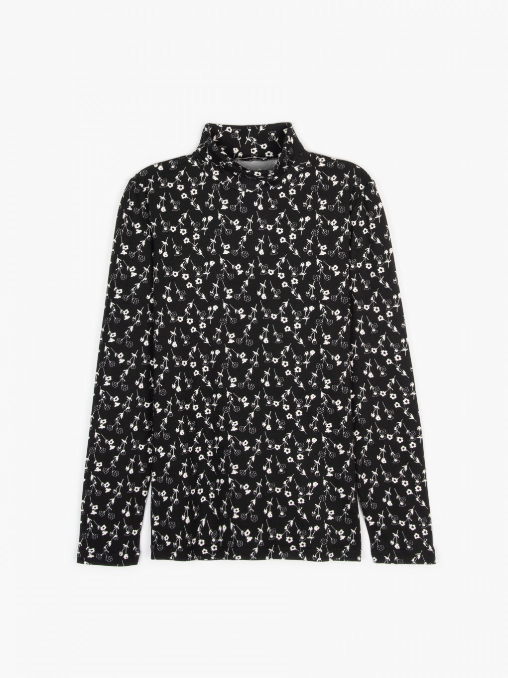 Soft rollneck with floral print