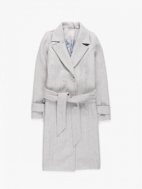 Melírovaný základní basic dámský kabát s páskem
