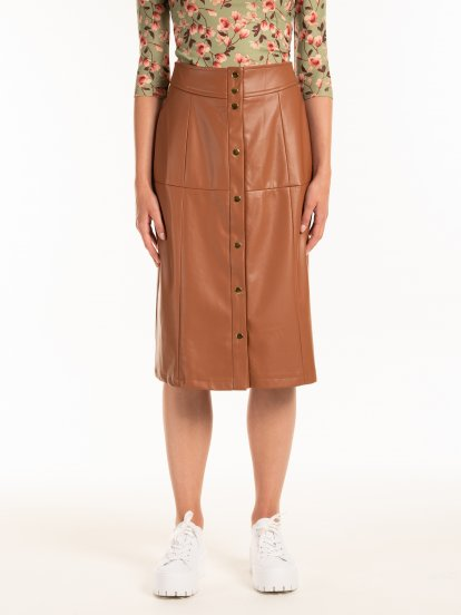 Faux leather button down midi skirt