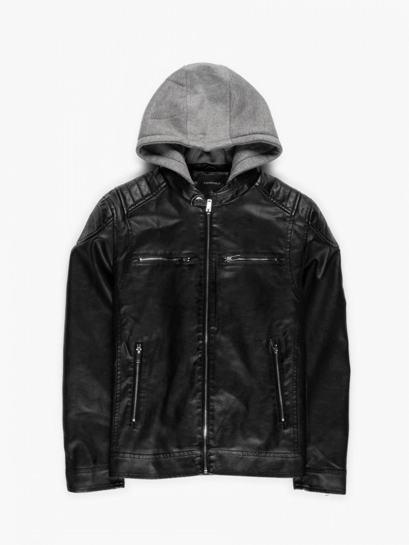 Vegan leather biker jacket with removable hood