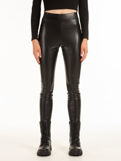 Faux leather jeggings