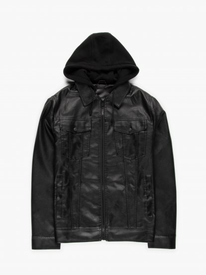 Vegan leather boxy jacket with removable hood