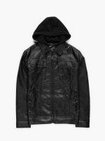 Prechodná bunda z eko kože s odopínateľnou kapucňou pánska