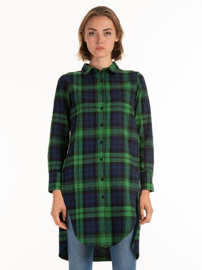 Prodloužená károvaná košile