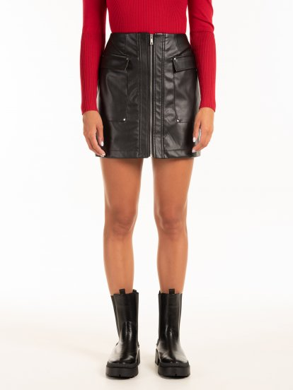 Faux leather mini skirt with pockets