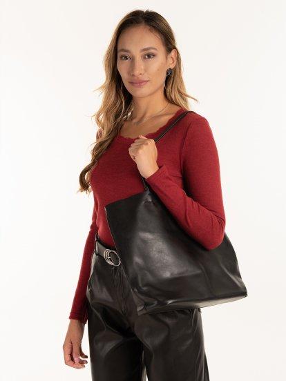 Velká dámská kabelka z měkké koženky
