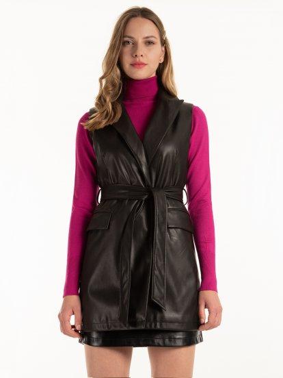 Faux leather vest with belt