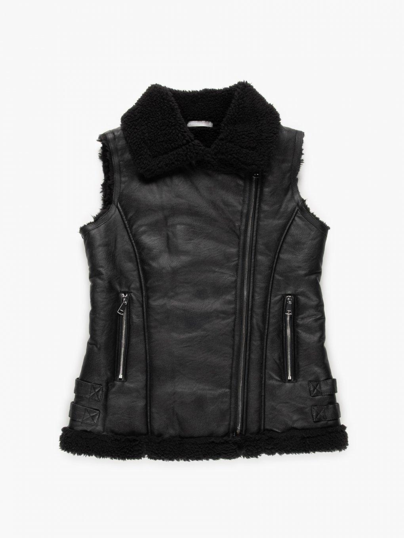 Pile lined faux leather vest
