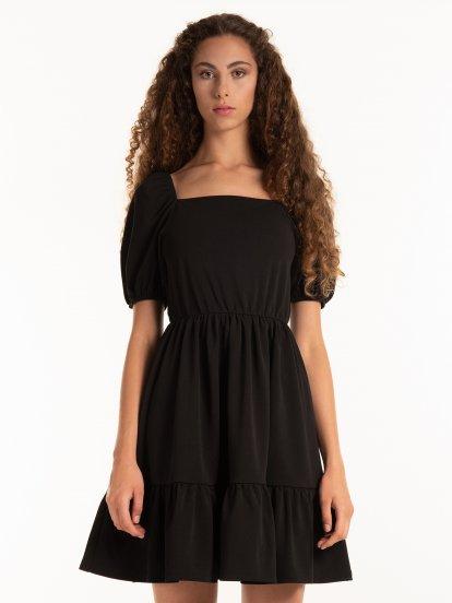 Puff sleeve dress with ruffles