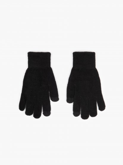 Basic knitted touch screen gloves