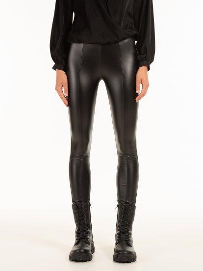 Zateplené nohavice z imitácie kože