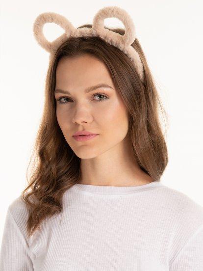 Faux fur headdress with ears