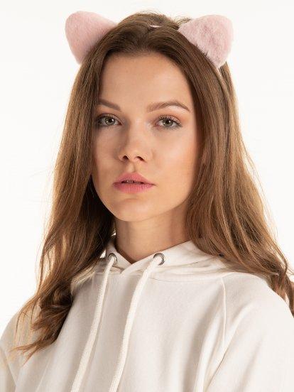 Headdress with faux fur ears
