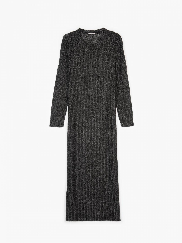 Dlouhé dámské pletené žebrované šaty s dlouhým rukávem